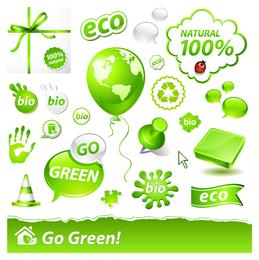 Conjunto de iconos de Ecología de reciclaje verde