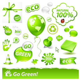 Green recycle ecology icon set