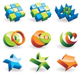 beautiful threedimensional icon vector