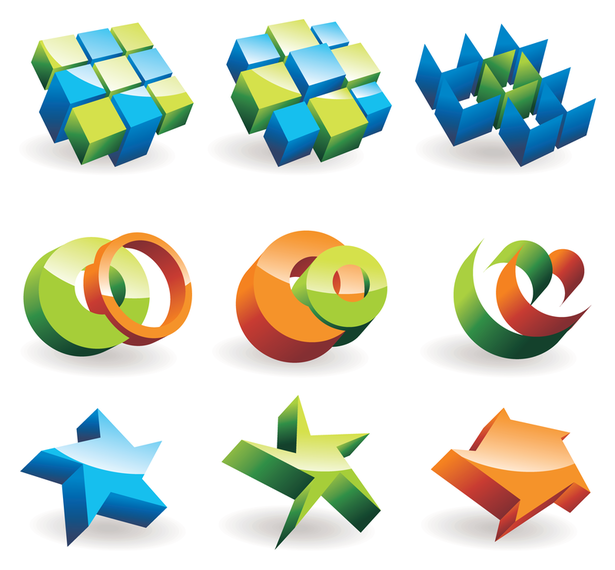 beautiful threedimensional icon vector