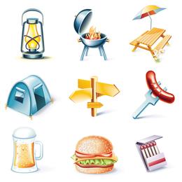 Conjunto de iconos de viaje al aire libre