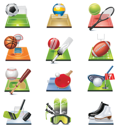 sportsrelated icons 4 vector
