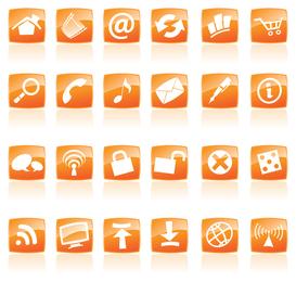 icono de estilo de cristal naranja
