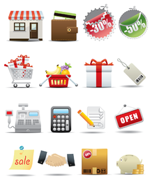 Supermarkt einkaufen Symbol Vektor