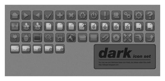 Dark Vector Icon Set