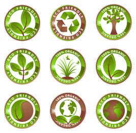 Conjunto de etiquetas ecológicas ecológicas
