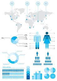Elementos de infográfico de informação e estatísticas