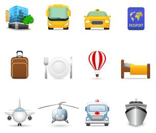 Tema de iconos de turismo vector 2