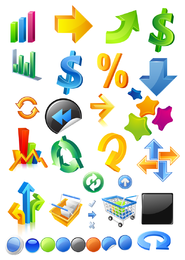 símbolos de vetor de ícone tridimensional