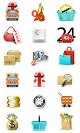 Coleção de ícones de negócios e compras
