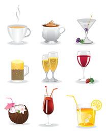 Conjunto de iconos de bebidas coloridas