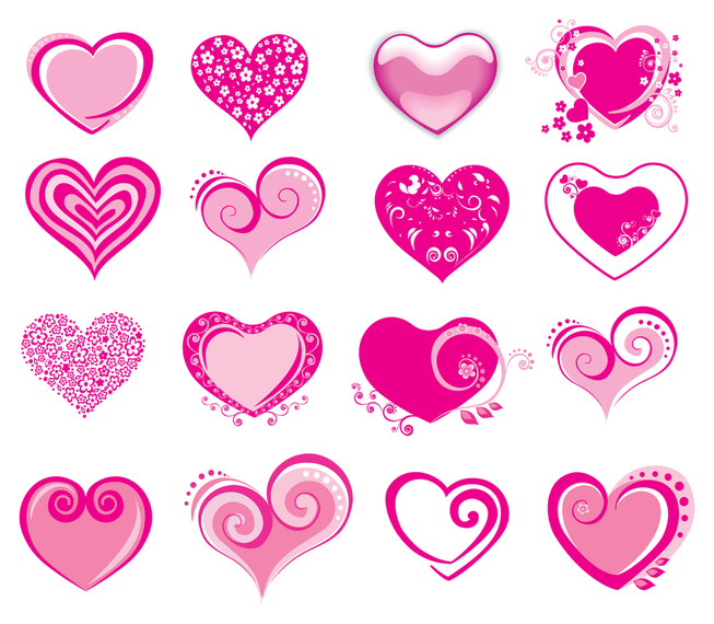 vector de icono en forma de corazn rosa
