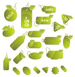Conjunto de etiquetas verdes y etiquetas