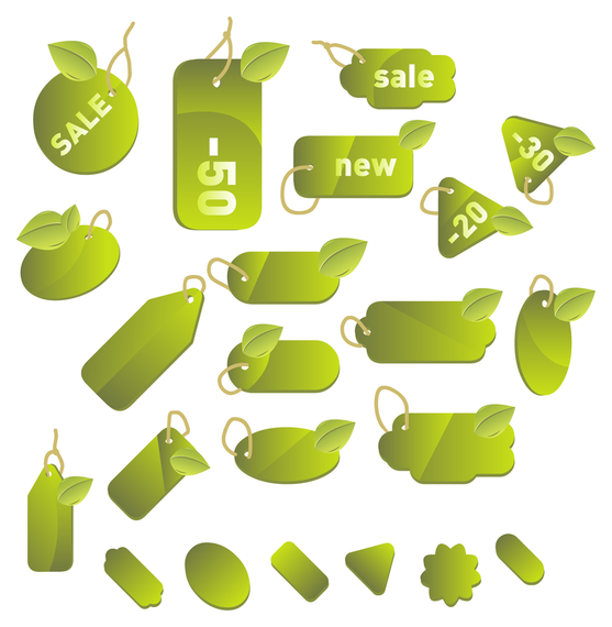 Set of green labels and tags