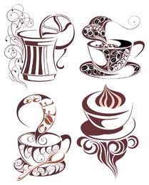 Ilustrações de café isoladas com redemoinhos