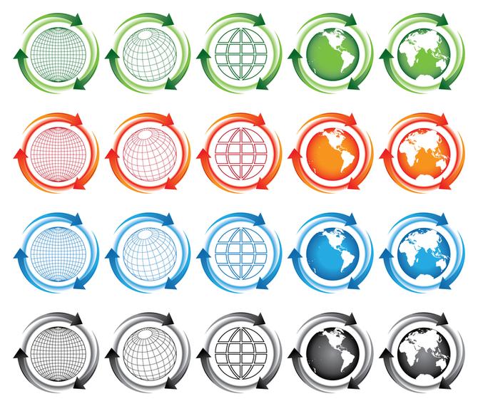 Earth-arrow icon vector material