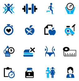 Fitness and exercise icon collection