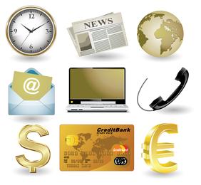 Sitio web de negocios icono de oro