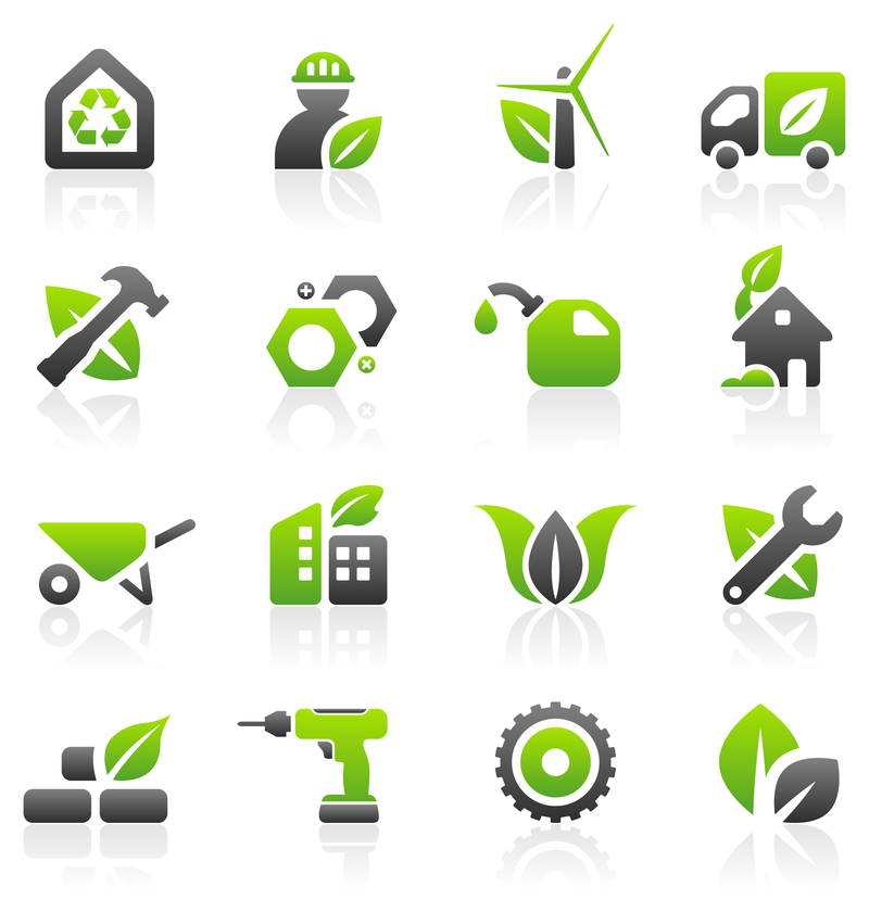 Green business and building icon set vector download for Green design company