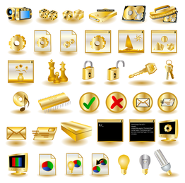 Gold computer icons collection
