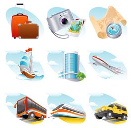 Icono de tema de viaje Vector 2