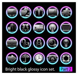 Conjunto de ícones preto brilhante 2