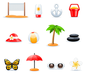 3D beach icon set