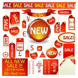 Icono rojo Vector de ventas 3