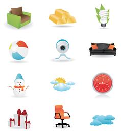 Conjunto de ícones com vários itens aleatórios