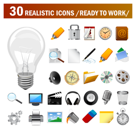 30 iconos vectoriales realistas