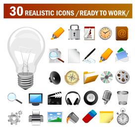 30 realistische Vektor-Icons