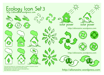 Green ecology environmental icons set