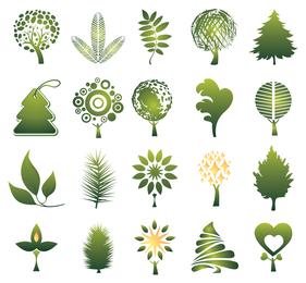 Conjunto de 20 ícones de árvores