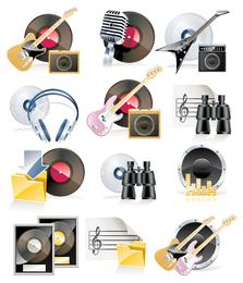 Desenhos de coleção de ícone de música