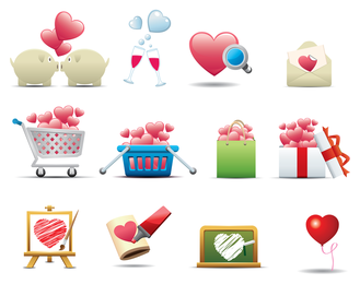icono de forma romántica en forma de corazón 1
