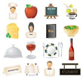 vector de icono de restaurante de dibujos animados