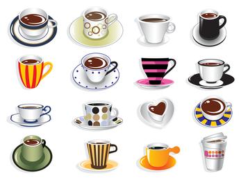 Conjunto de ilustración de la taza de café