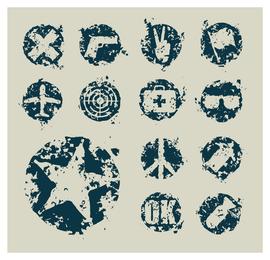13 Grunge-Symbole Abzeichen