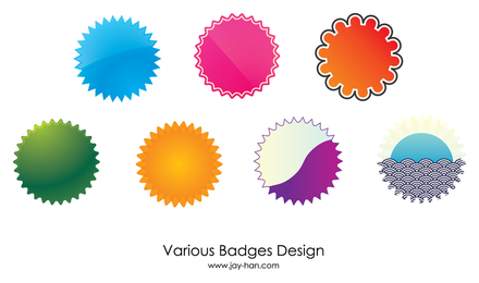 Web 2 badges vector