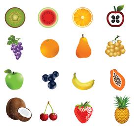 Conjunto de iconos de la fruta