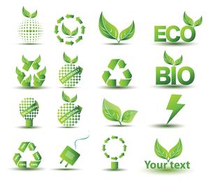 Eco bio colección de iconos aislados