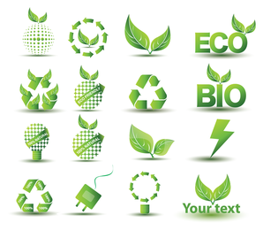 Eco bio isolated icon collection
