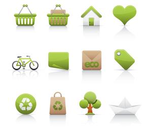 Green eco label icon set