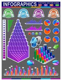 Modelo de infográfico de estatísticas 3D