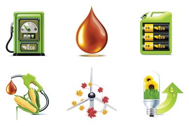 Ícones 3D de biocombustível
