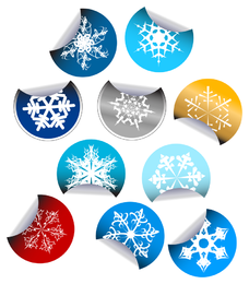 snowflake stickers icon vector