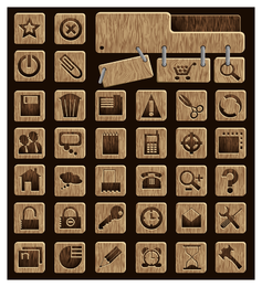 icono de madera vector
