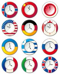 Relógio de vetor com diferente