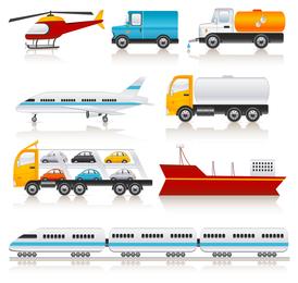 Vector iconos de vehículo de transporte