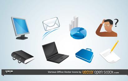 Vários ícones do vetor de escritório